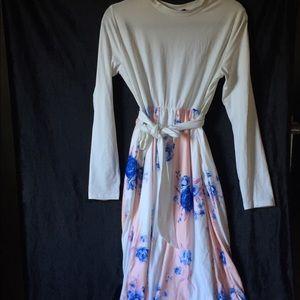 Floral Printed Stripe Dress Pink (L)